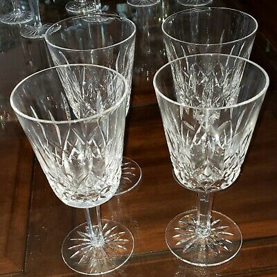"Vintage set of 4 Waterford Ireland Crystal LISMORE Water Wine Goblets 6 7/8"" WOW"