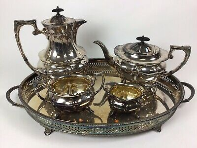 Silver Tea Set Tea And Coffee Pots Milk And Sugar And Tray