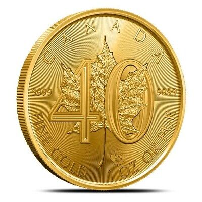 2019 Canada 1 oz $50 .9999 Fine Gold Maple Leaf Coin - 40th Anniversary