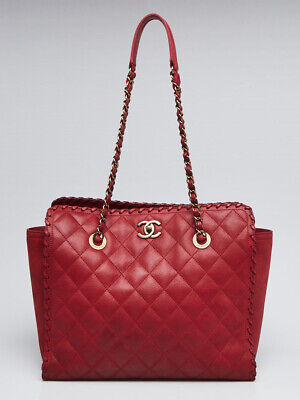 bb08aed0e9bd Chanel Red Quilted Iridescent Scalloped Leather Large Shopping Tote Bag