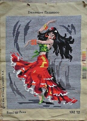 Vintage Spanish Flamenco Dancer Royal Paris Needlepoint 14 x 17.5