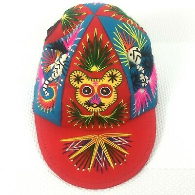 Vintage Retro Handmade Hat - 3D Embroidery - Rainbow Colours - One of a Kind!