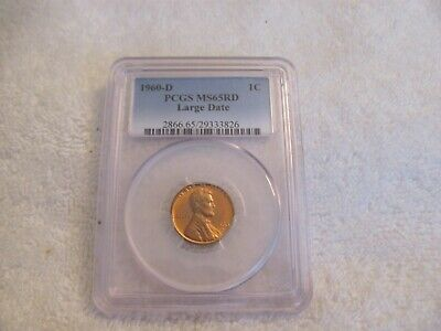 1960-D 1C PCGS MS65RD Lincoln Large Date Memorial Cent