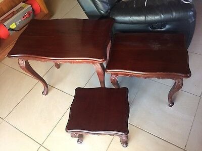 Nest Of 3 Mahogany Solid Timber Tables