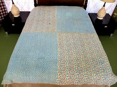 """Vintage HEAVY, THICK Hand Sewn Quilt Made w/ 8 Opened Full FEED SACKS; 78"""" x 68"""""""