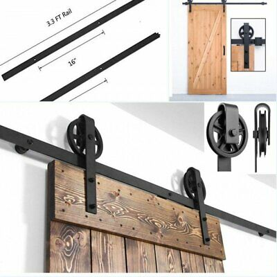 6.6 FT Sliding Barn Door Hardware Antique Country Style Kit Track System Closet