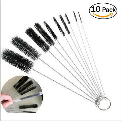 Stainless Steel Brush Cleaner Bottle Tube Pipe Small Long Cleaning 10Pcs Set New