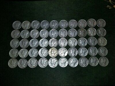 Roll (50 coins) Mercury Silver Dimes, 90% Silver ($5 face value) circulated lot