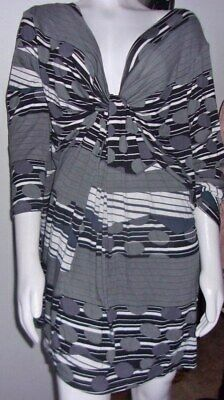 1b5fba8db01 Womens Plus Ellos SEXY 4X Black Gray White STRETCH Tunic KNOTTED BUST NEW  NWOT