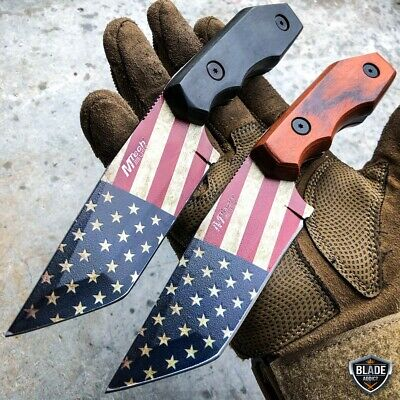 "8.25"" Tactical USA FLAG AMERICAN FIXED BLADE Cleaver Razor Hunting Camping Knife"