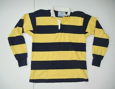 a3353eeccd4 Vtg 90s LANDS END Bright Yellow/Blue RUGBY SHIRT Collared Long Sleeve Sz  Men LAR