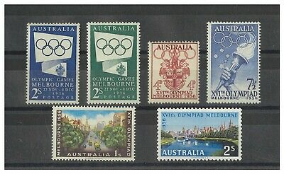 Australia 1956 Olympic Games 5 Values of Pre Decimal Stamps Mint Unhinged MUH