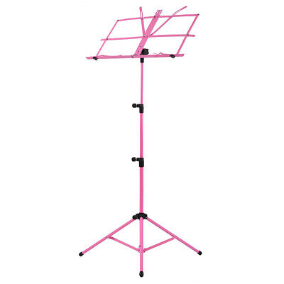 Adjustable Folding Sheet Music Tripod Stand Holder Heavy Duty Pink+Case Hot B6L5