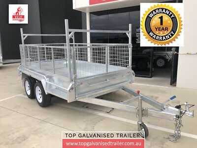 8x5 TANDEM TRAILER GALVANISED WITH LADDER ROCKES 600MM CAGE HEAVY DUTY 2000KG AT