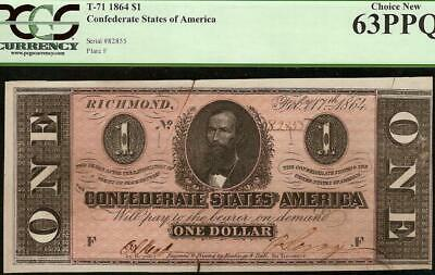 Unc 1864 $1 Dollar Confederate States Currency Civil War Note Money T-71 Pcgs 63