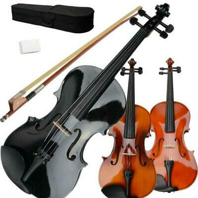 """New 15""""/16 Natural Brown Black Acoustic Viola + Case + Bow + Rosin for Adults"""