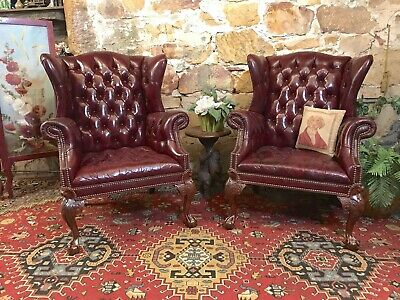 Pair Vintage Chesterfield Leather Wingback Lounge Chair~Armchairs~RARE