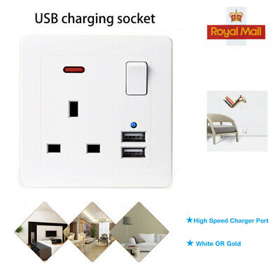13A White Plastic Single Wall Socket Plug Outlet Switch With 2 Usb Port Lot Uk