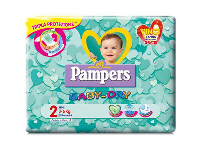 72 Pannolini Pampers baby dry taglia 2 ( 3 - 6 kg )