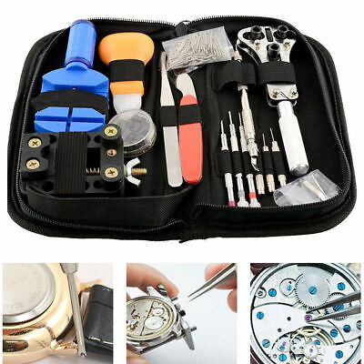 144pcs Watch Repair Tool Kit Watchmaker Back Case Remover Opener Spring Pin New