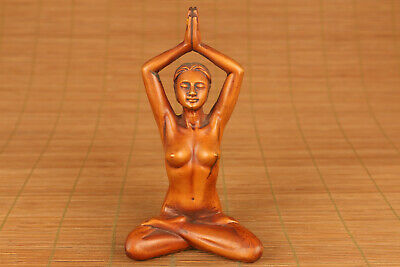 old chinese wood hand carving yoga kungfu figure statue table gift collectable