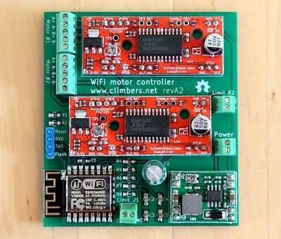 WiFi-controlled two stepper motors with ESP8266 kit. incl ESP-12F + EasyDrivers