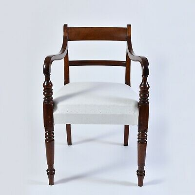 Antique Georgian Regency Desk Chair, traditionally upholstered with new rails