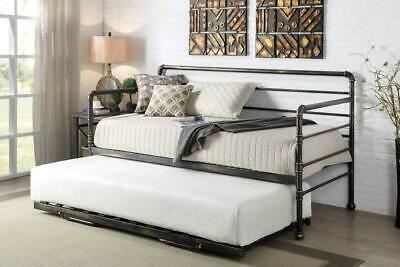 Modern Metal Day Bed with Trundle Guest Bed Silver / Antique Bronze Single Size