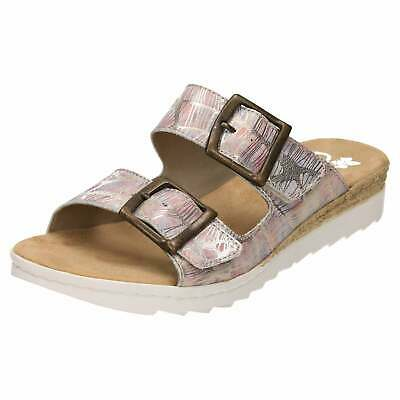 8fe37dcb054 Rieker 63094-90 Slip On Mule Leather Sandals Slides Low Wedge Flat Buckle