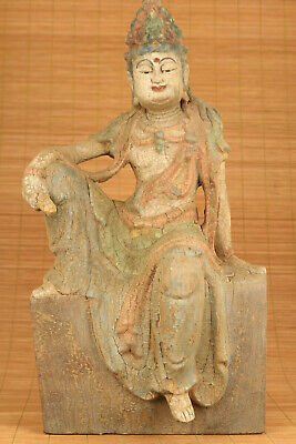 big antique chinese old wood hand carved buddha kwan-yin statue figure ornament