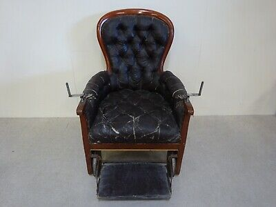 Victorian Antique Mahogany Buttoned Spoon Back Invalid Chair Very Rare One Off