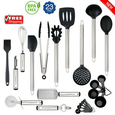 23x Stainless Steel Kitchen Utensil Set Non-Stick Cookware Bakeware Serving Tool