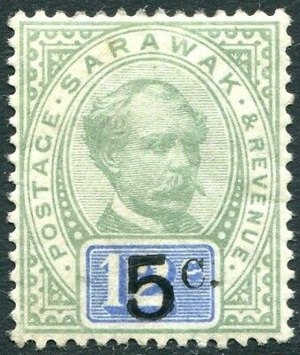 "SARAWAK-1891 5c on 12c Green & Blue with stop after ""c"" Sg 25 LIGHTLY MOUNTED/M"