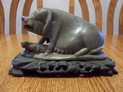 Vintage Chinese Carved Green Soapstone Asian Pigs Hog Family Figures /Wood Base