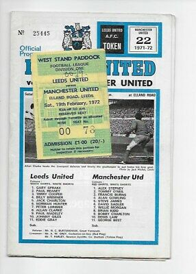 Leeds United V Manchester United 1972 Football Programme & Ticket England Fa Cup