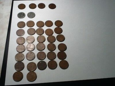 4 Indian Head Cent Pennies,  2 Silver  Pennies dated 1943, and 32 wheat Pennies