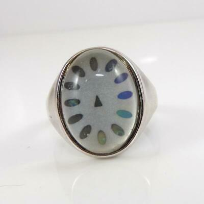 Sterling Silver Modernist Abstract Glass Clock Ring Size 10  LFA3 roger