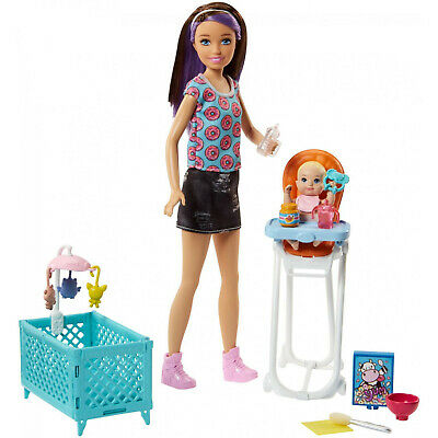 Barbie Skipper Babysitter Feeding High Chair Playset with Baby Accessories NEW