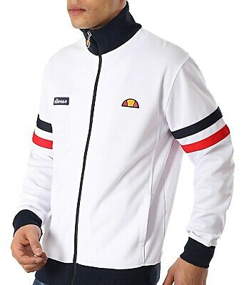 ellesse Mens Retro Classic Roma Track Jacket Zip Up Poly Sweat Top White