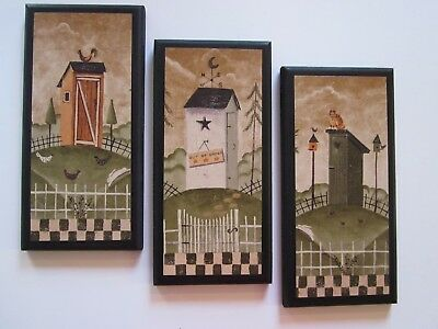 Outhouses 3 Rustic Lodge Bath Wall Decor Primitive Country Cabin Signs Bathroom