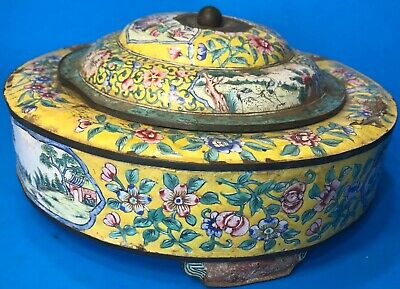 Antique Chinese Covered Dish Plate Box Food Container Enamel On Brass Damaged
