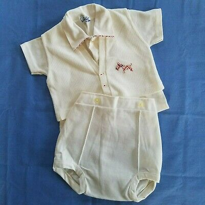 60's Vintage Doe Spun 12 MO Baby Boy 3 Piece Outfit, EXCELLENT Cond, Scotty Dog