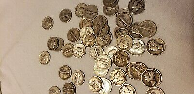 50 Silver Mercury Dimes  Mix lot of dates