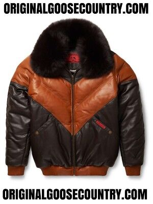 Brand New Goose Country V-Bomber Jacket Two-Tone Brown/tan With Fox Collar