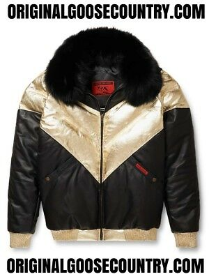 Brand New Goose Country V-Bomber Jacket Two-Tone Blk/gold With Fox Collar