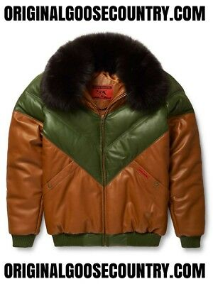 Brand New Goose Country V-Bomber Jacket Two-Tone Brown/green With Fox Collar