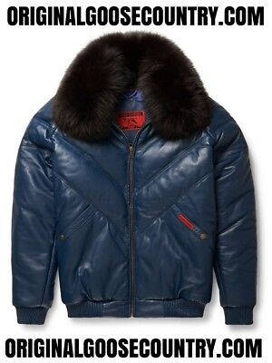 Brand New Goose Country V-Bomber Jacket From 80's Navy With Fox Collar