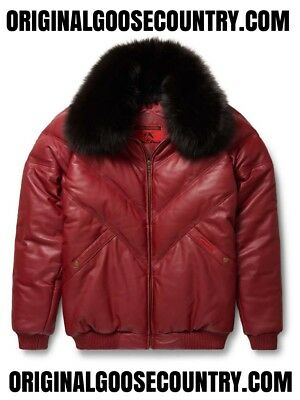 Brand New Goose Country V-Bomber Jacket From 80's Burgundy With Fox Collar