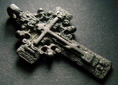 ANCIENT BRONZE CROSS RARE. RELIGIOUS ARTIFACT IN GREAT CONDITION. 46 mm. (F.126)