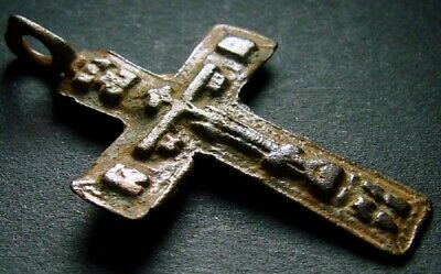 ANCIENT BRONZE CROSS RARE. RELIGIOUS ARTIFACT IN GREAT CONDITION. 38 mm. (F.289)